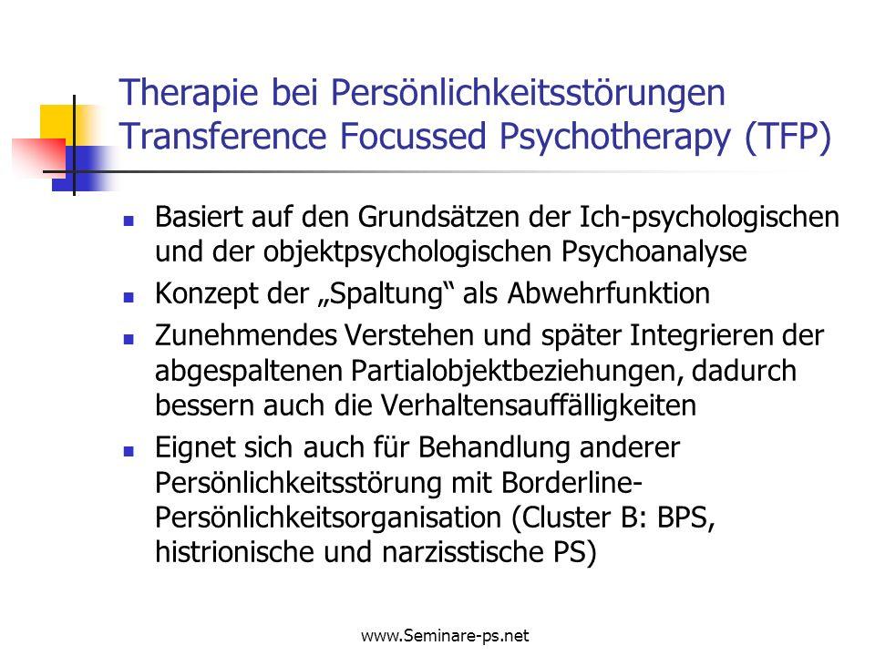 Therapie bei Persönlichkeitsstörungen Transference Focussed Psychotherapy (TFP)