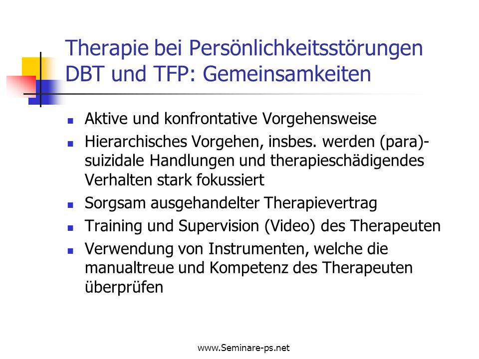 Therapie bei Persönlichkeitsstörungen DBT und TFP: Gemeinsamkeiten