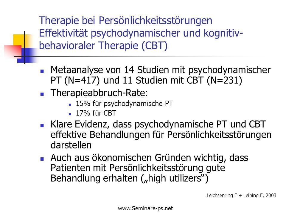 Therapie bei Persönlichkeitsstörungen Effektivität psychodynamischer und kognitiv-behavioraler Therapie (CBT)