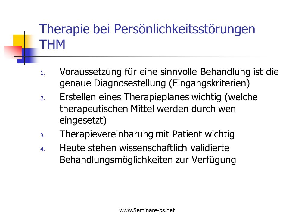 Therapie bei Persönlichkeitsstörungen THM