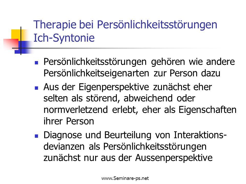 Therapie bei Persönlichkeitsstörungen Ich-Syntonie