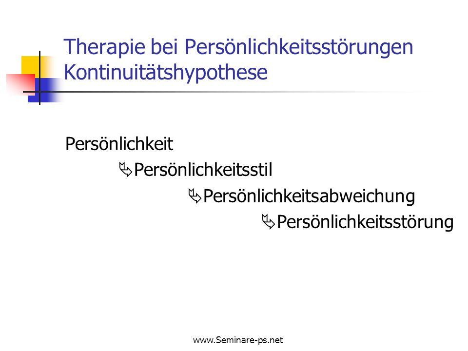Therapie bei Persönlichkeitsstörungen Kontinuitätshypothese