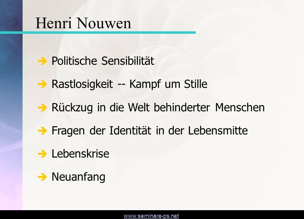 Henri Nouwen Politische Sensibilität Rastlosigkeit -- Kampf um Stille