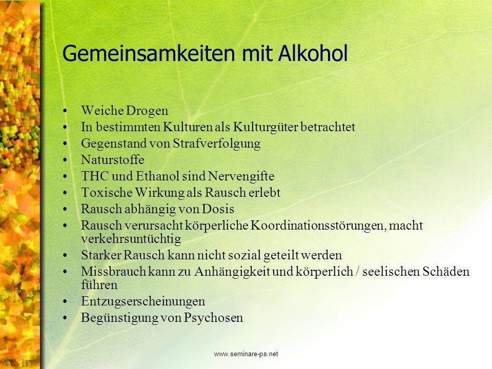 Gemeinsamkeiten mit Alkohol