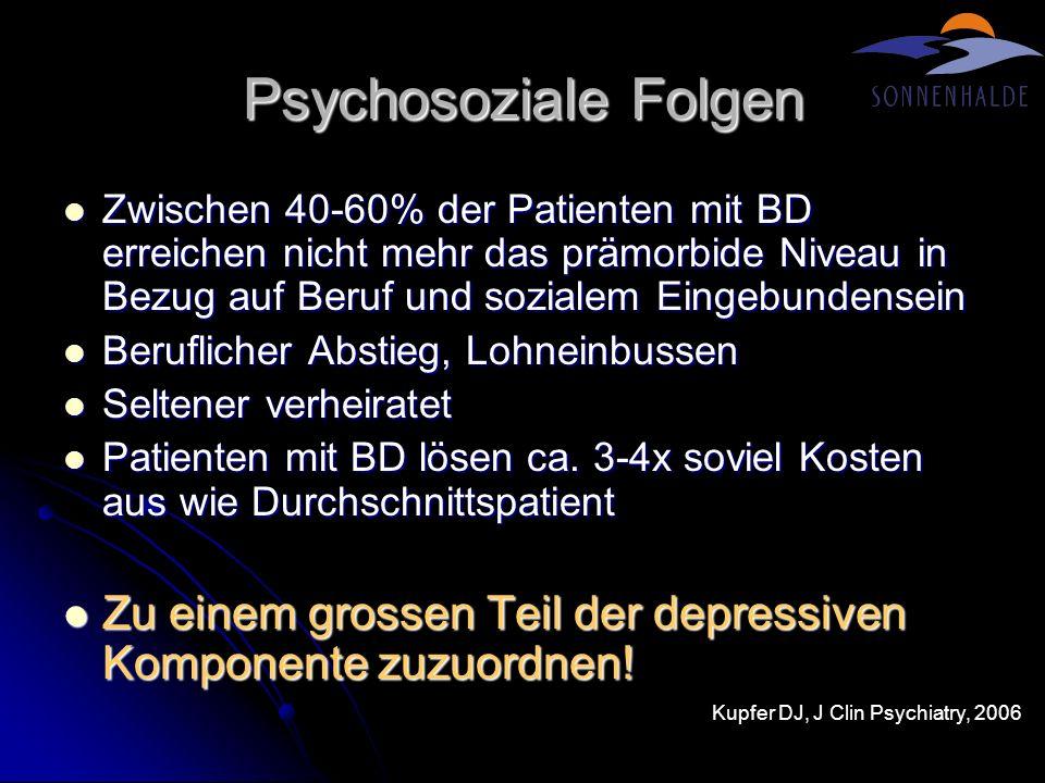 Psychosoziale Folgen Zwischen 40-60% der Patienten mit BD erreichen nicht mehr das prämorbide Niveau in Bezug auf Beruf und sozialem Eingebundensein.