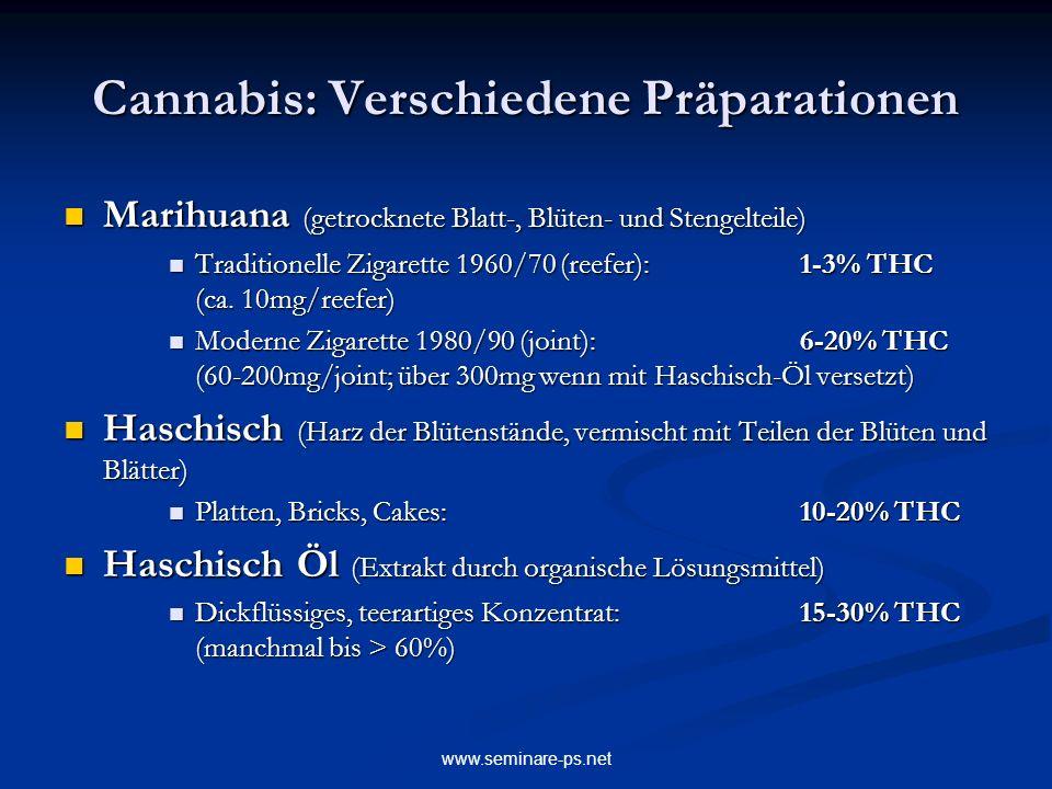 Cannabis: Verschiedene Präparationen