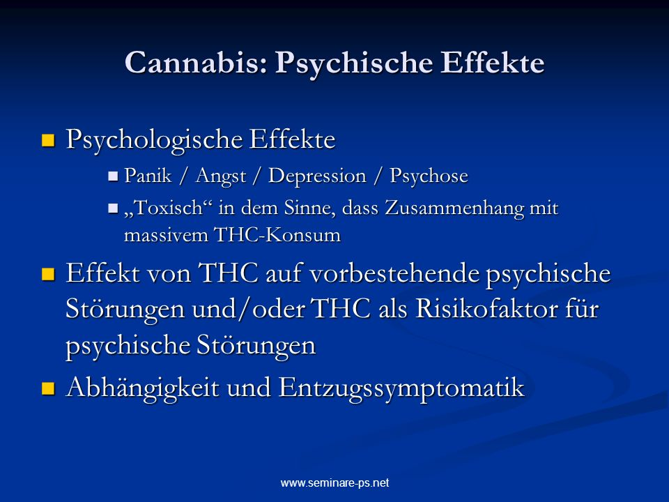 Cannabis: Psychische Effekte