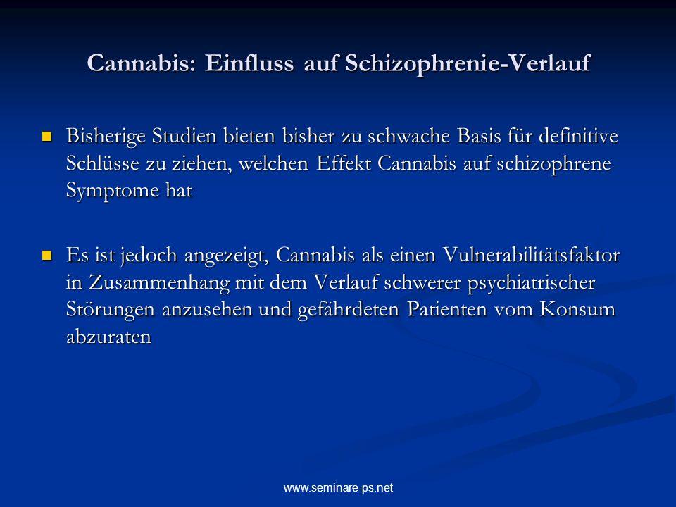 Cannabis: Einfluss auf Schizophrenie-Verlauf