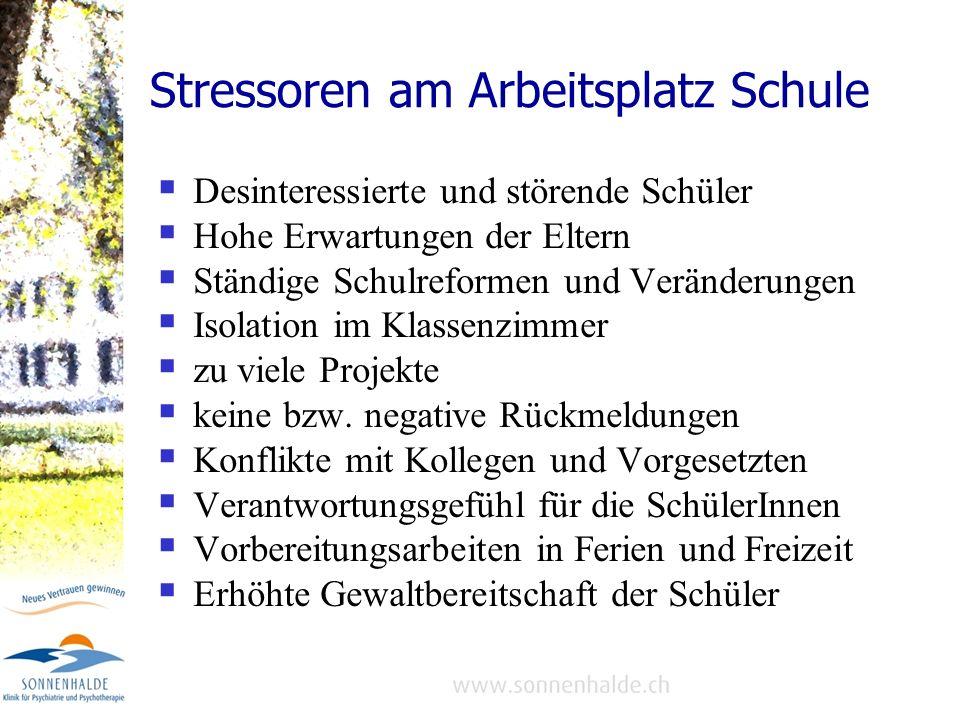 Stressoren am Arbeitsplatz Schule