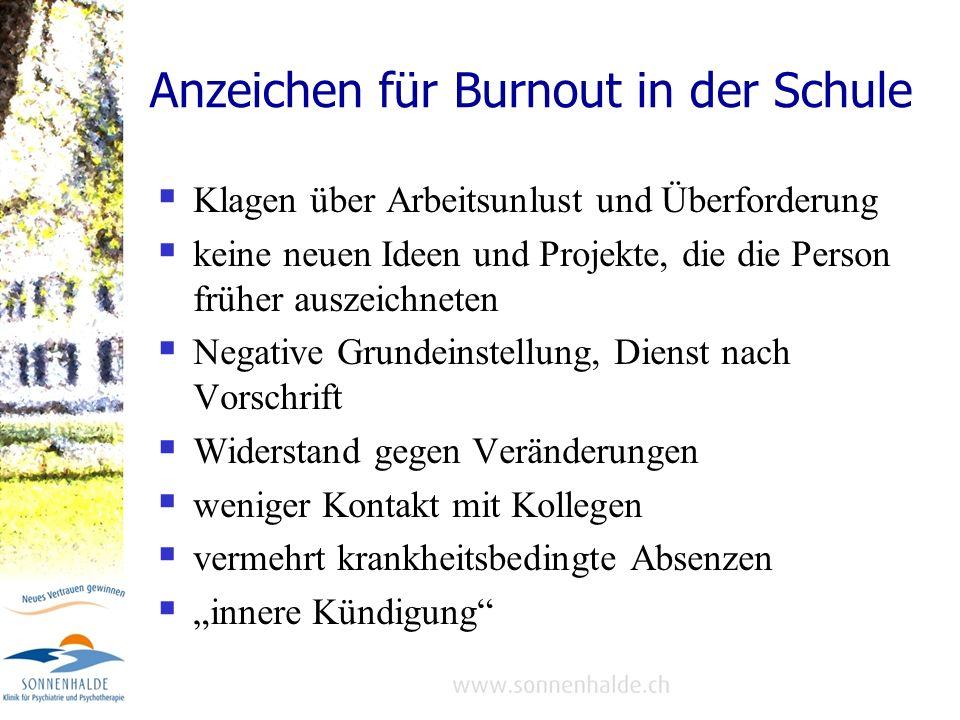 Anzeichen für Burnout in der Schule