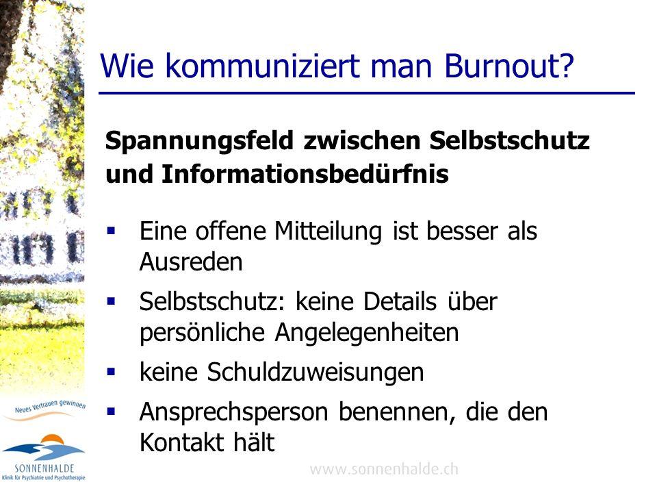 Wie kommuniziert man Burnout