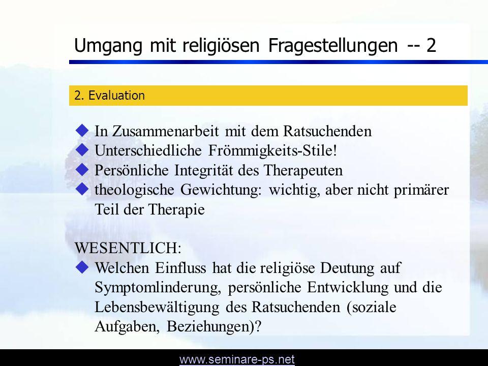 Umgang mit religiösen Fragestellungen -- 2