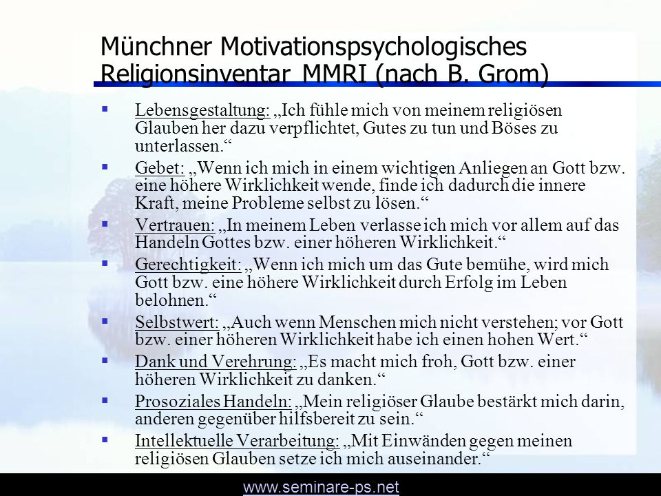 Münchner Motivationspsychologisches Religionsinventar MMRI (nach B