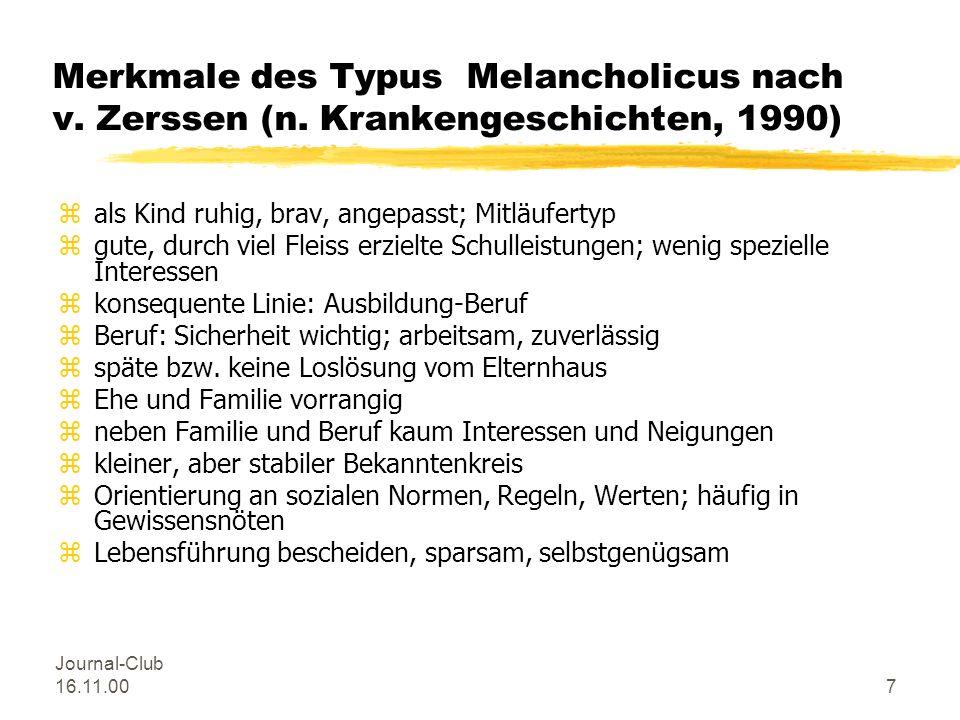 Merkmale des Typus Melancholicus nach v. Zerssen (n