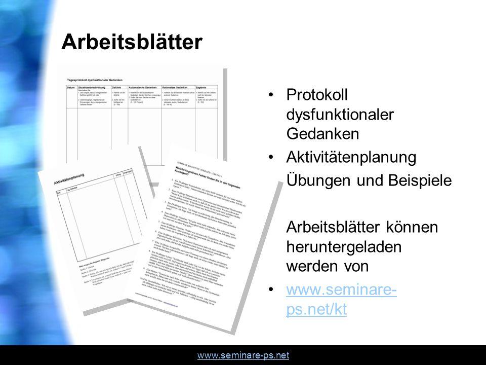 Arbeitsblätter Protokoll dysfunktionaler Gedanken Aktivitätenplanung