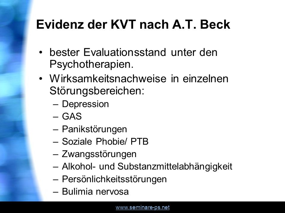 Evidenz der KVT nach A.T. Beck