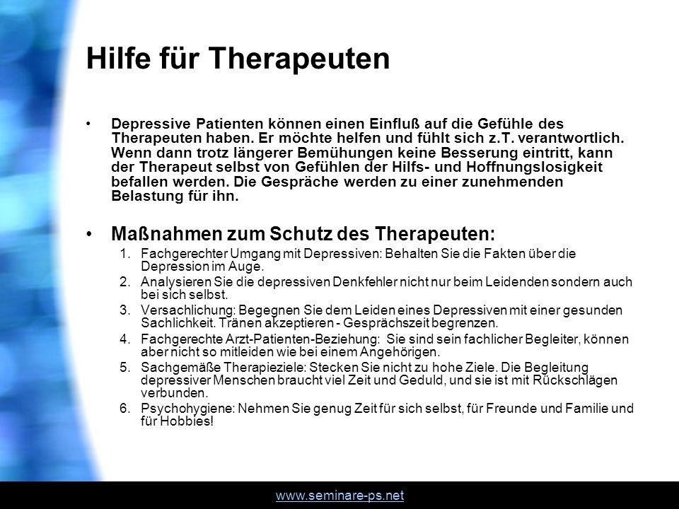 Hilfe für Therapeuten Maßnahmen zum Schutz des Therapeuten: