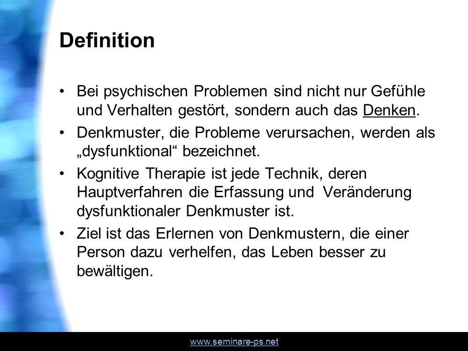 Definition Bei psychischen Problemen sind nicht nur Gefühle und Verhalten gestört, sondern auch das Denken.