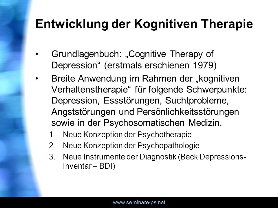 Entwicklung der Kognitiven Therapie
