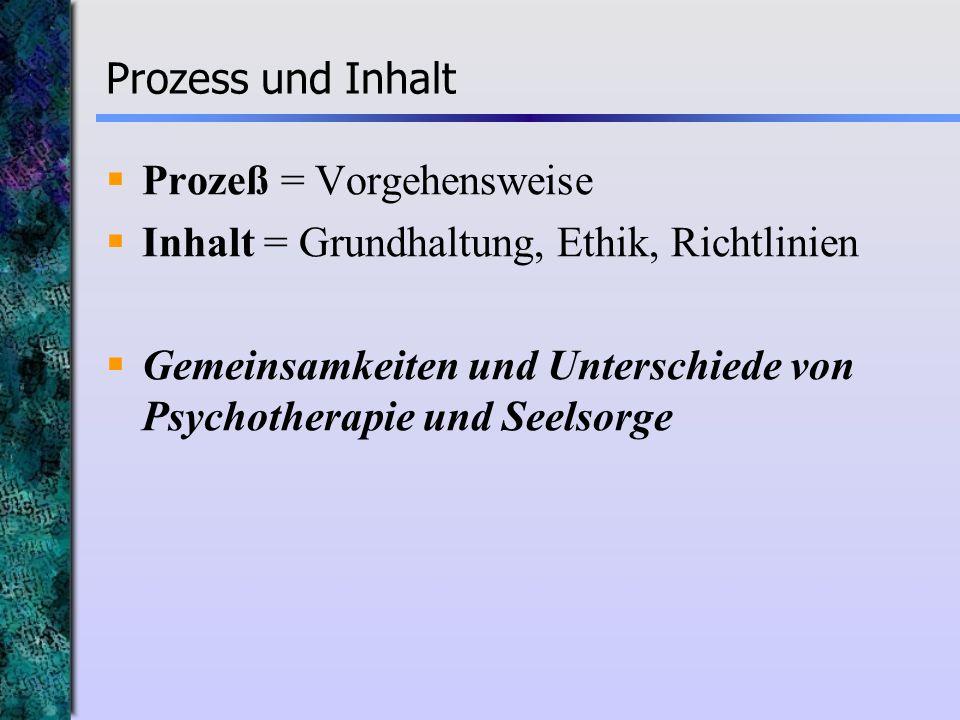 Prozess und InhaltProzeß = Vorgehensweise. Inhalt = Grundhaltung, Ethik, Richtlinien.