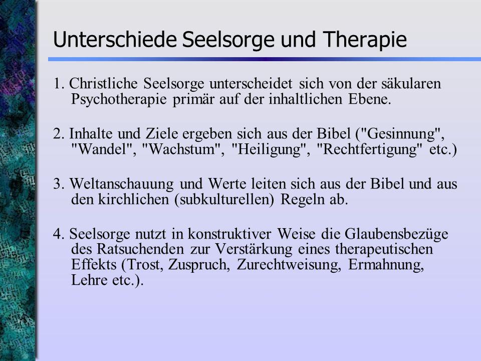 Unterschiede Seelsorge und Therapie