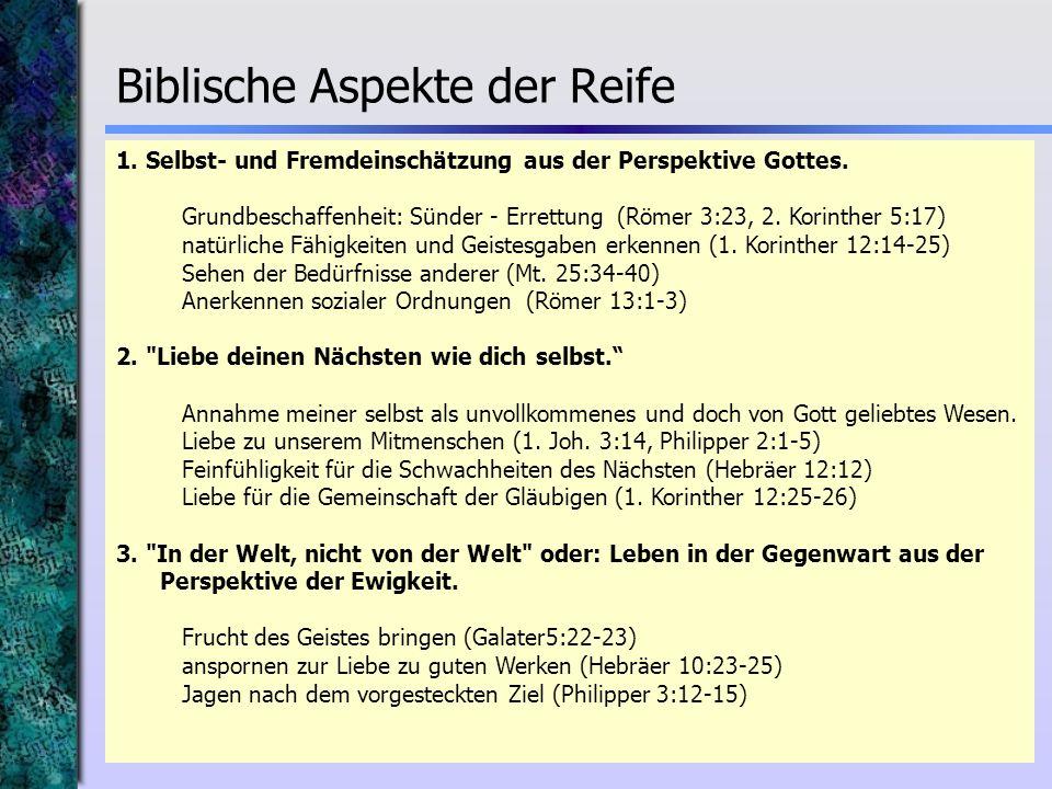 Biblische Aspekte der Reife