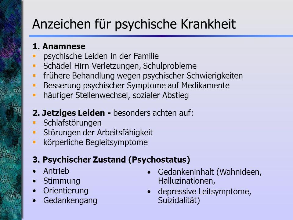 Anzeichen für psychische Krankheit
