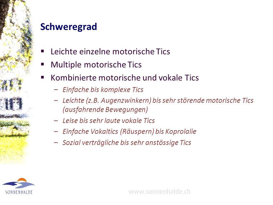 Schweregrad Leichte einzelne motorische Tics Multiple motorische Tics