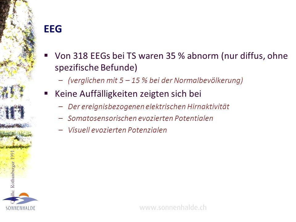 EEG Von 318 EEGs bei TS waren 35 % abnorm (nur diffus, ohne spezifische Befunde) (verglichen mit 5 – 15 % bei der Normalbevölkerung)