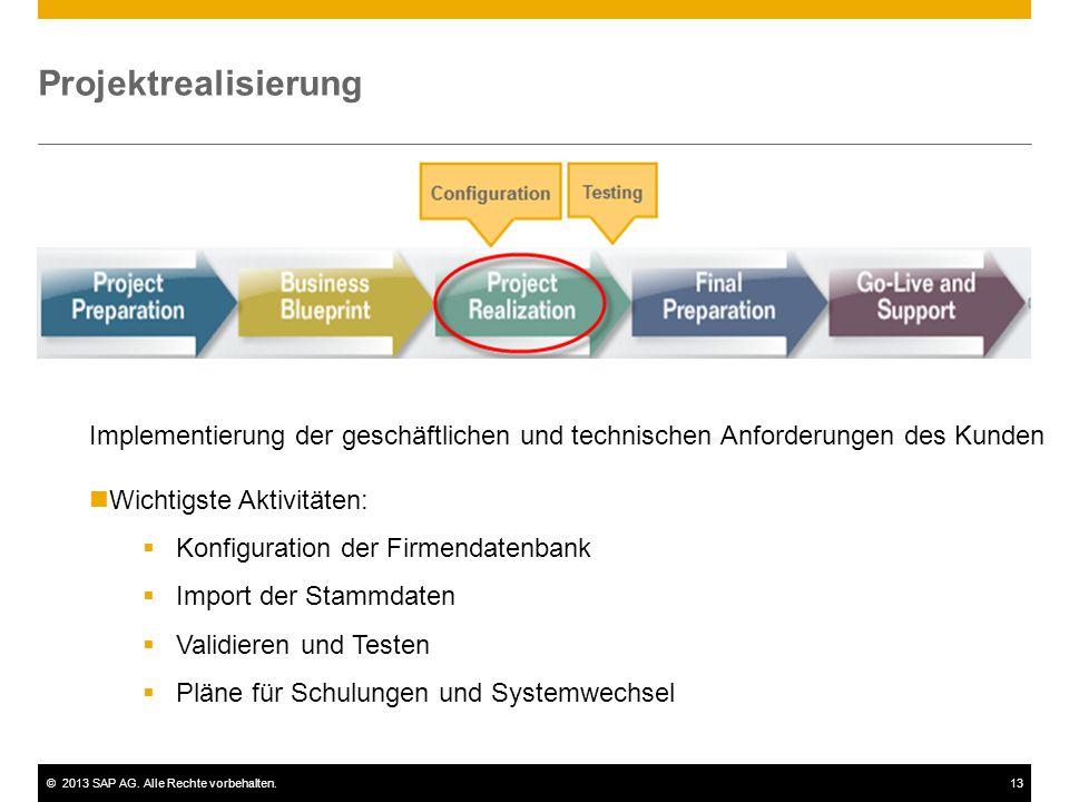 Projektrealisierung Implementierung der geschäftlichen und technischen Anforderungen des Kunden. Wichtigste Aktivitäten: