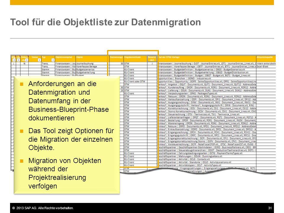 Tool für die Objektliste zur Datenmigration