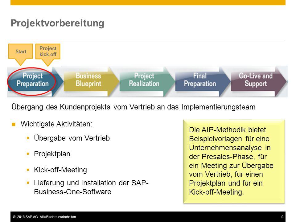 Projektvorbereitung Übergang des Kundenprojekts vom Vertrieb an das Implementierungsteam. Wichtigste Aktivitäten: