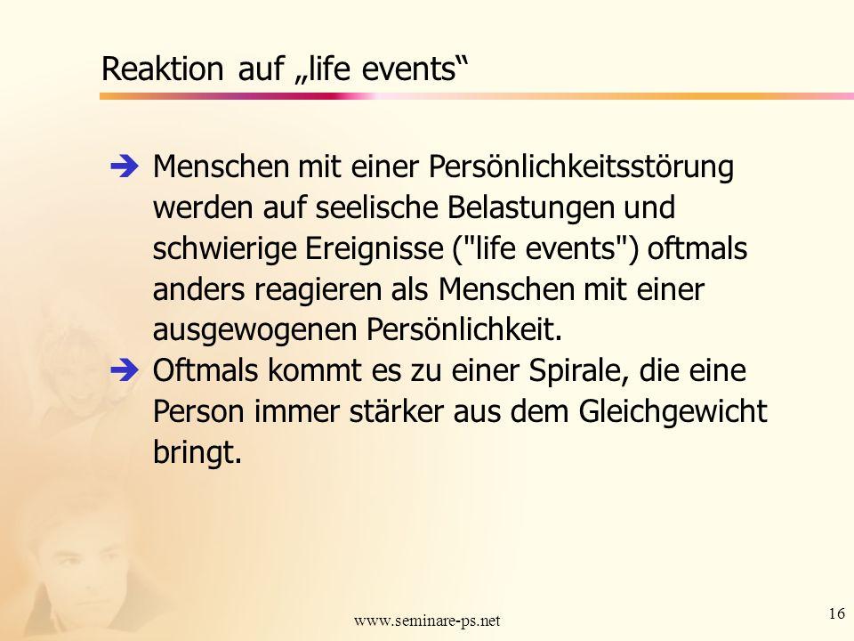 """Reaktion auf """"life events"""