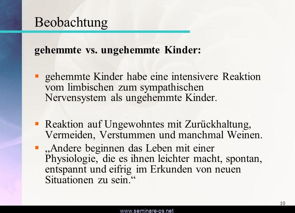 Beobachtung gehemmte vs. ungehemmte Kinder: