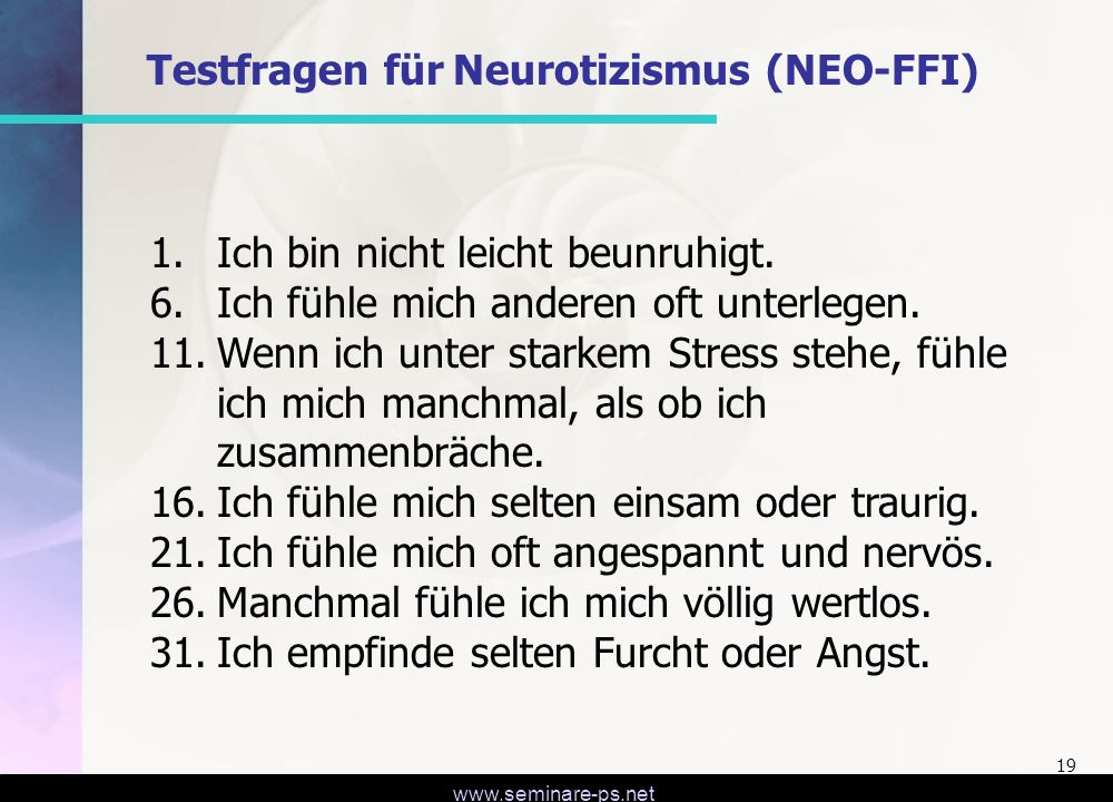 Testfragen für Neurotizismus (NEO-FFI)