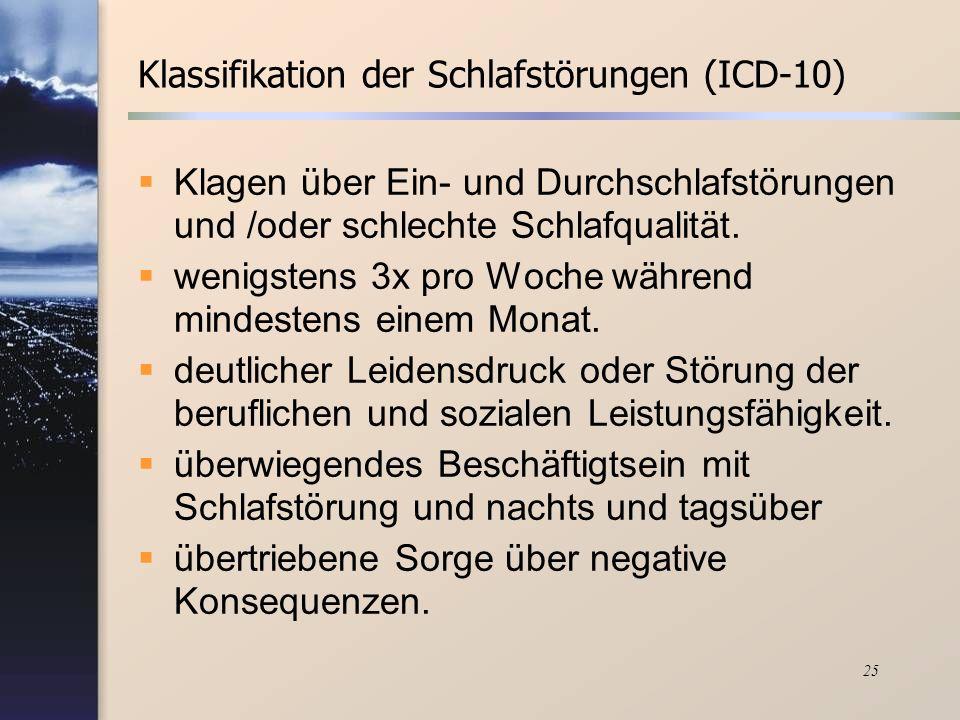 Klassifikation der Schlafstörungen (ICD-10)