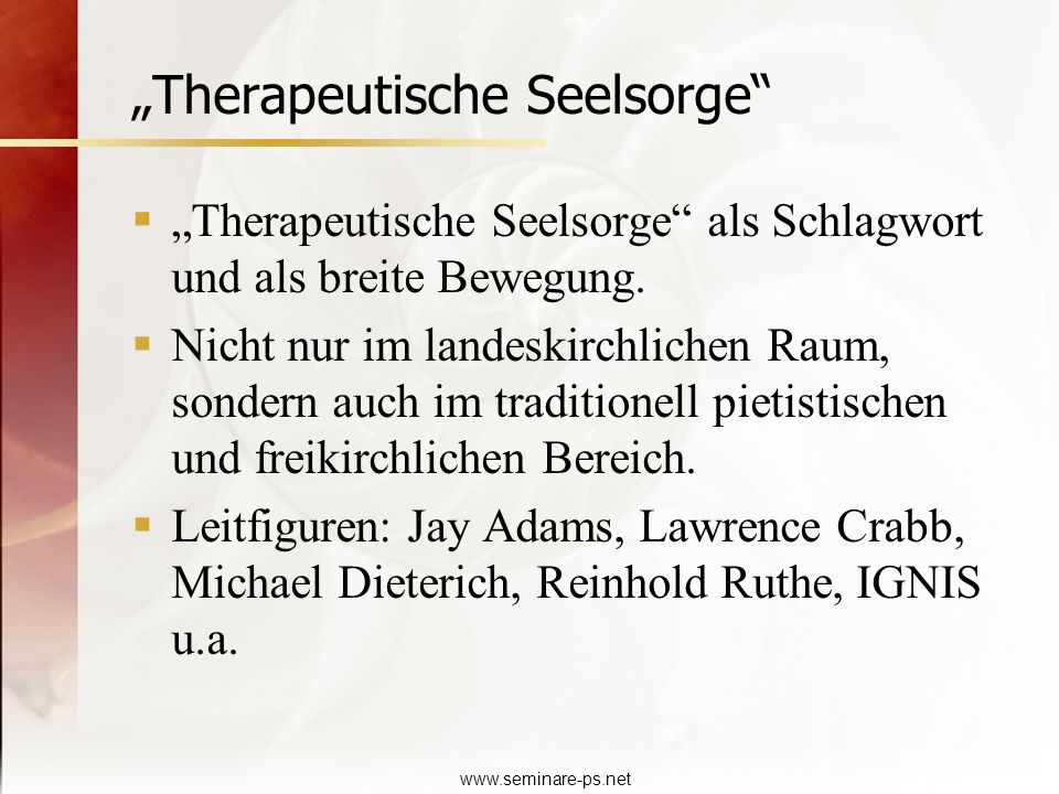 """Therapeutische Seelsorge"