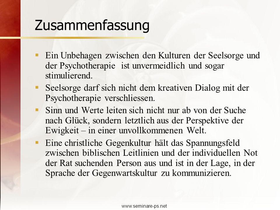 Zusammenfassung Ein Unbehagen zwischen den Kulturen der Seelsorge und der Psychotherapie ist unvermeidlich und sogar stimulierend.