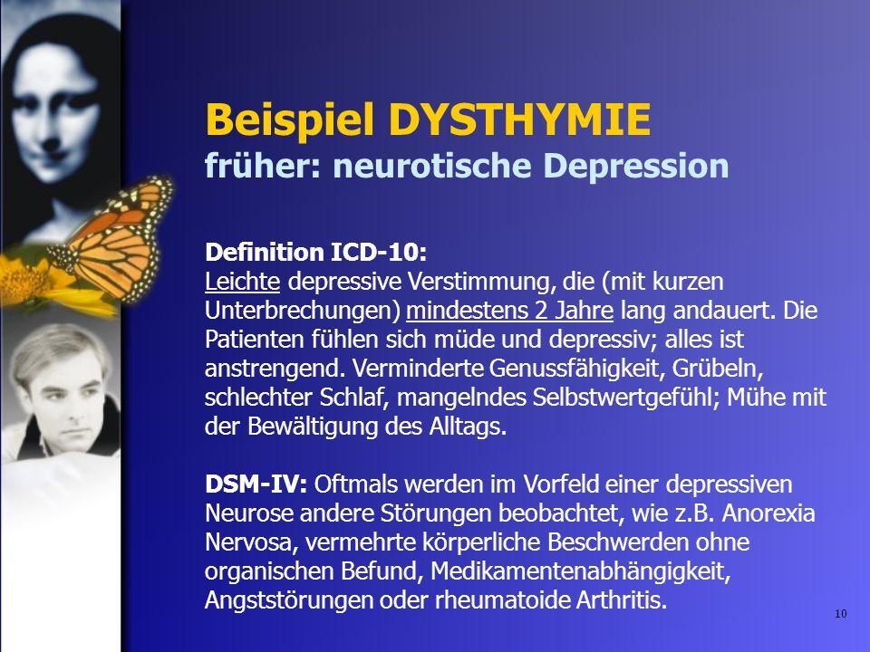 Beispiel DYSTHYMIE früher: neurotische Depression Definition ICD-10:
