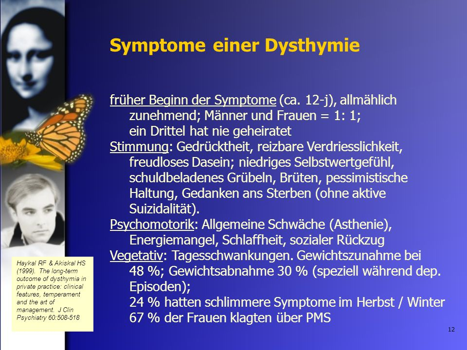 Symptome einer Dysthymie