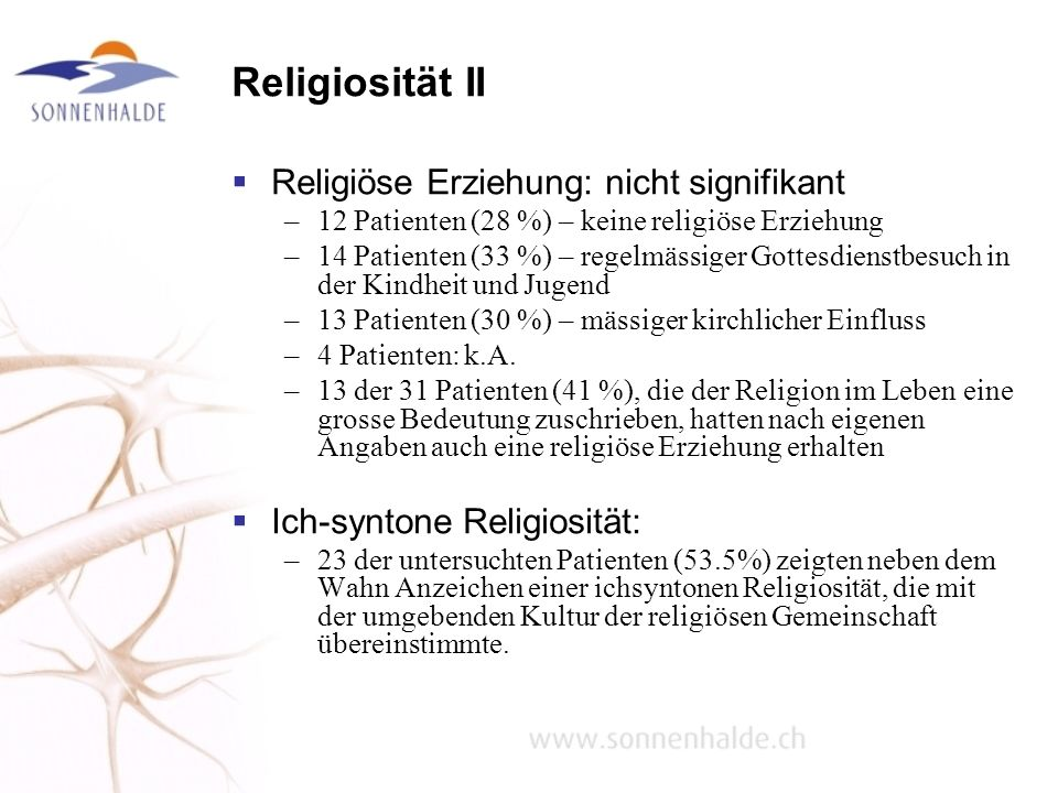 Religiosität II Religiöse Erziehung: nicht signifikant