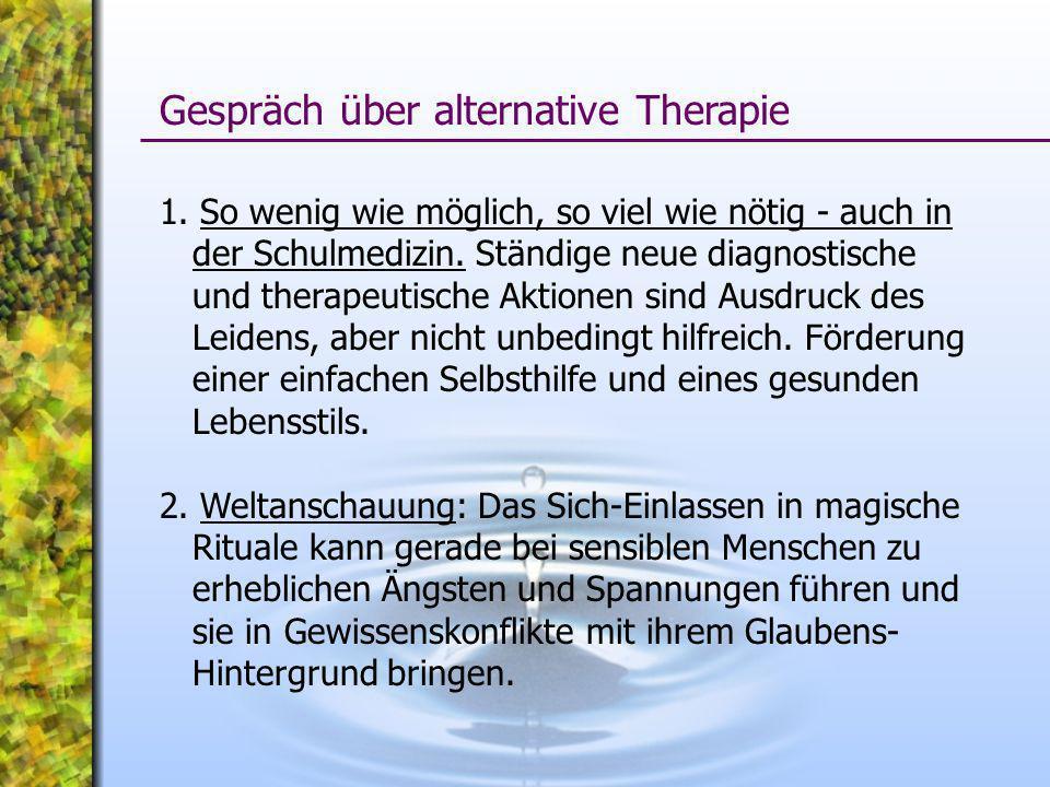 Gespräch über alternative Therapie