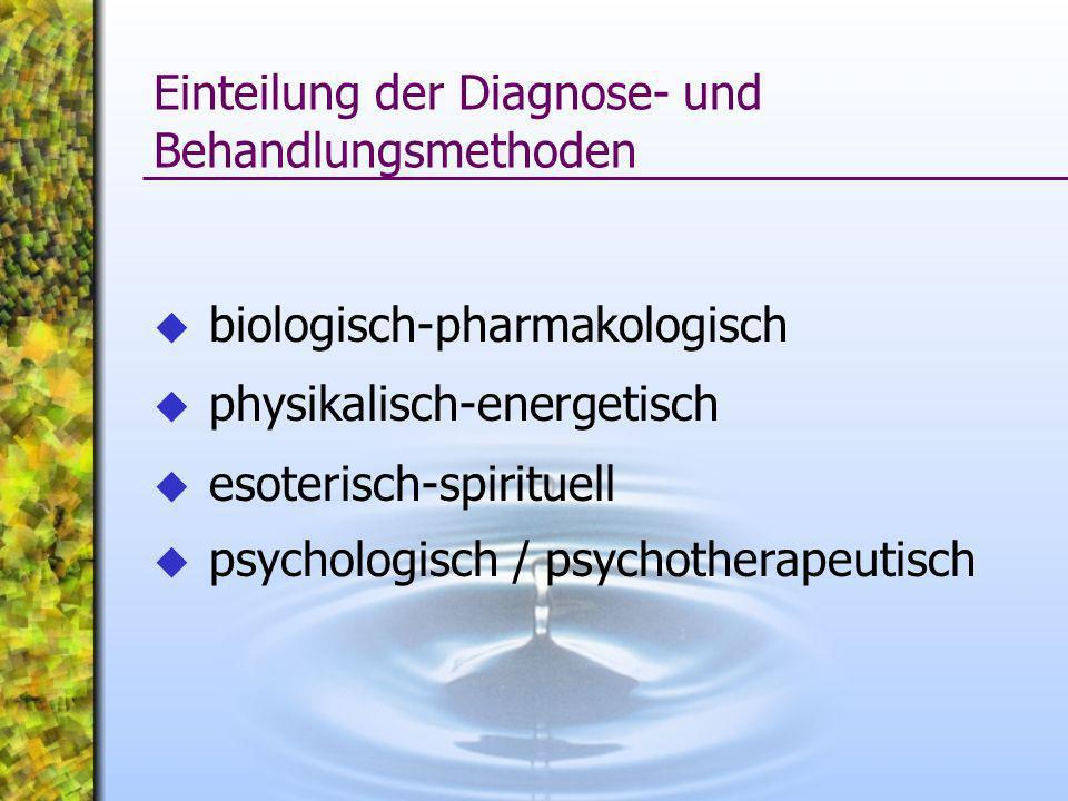 Einteilung der Diagnose- und Behandlungsmethoden