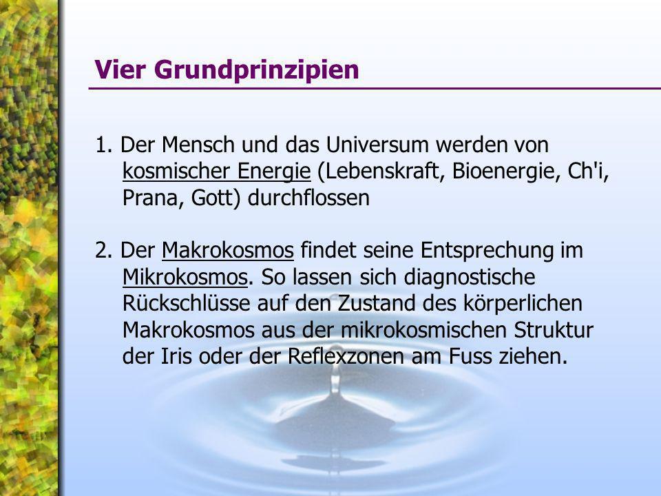 Vier Grundprinzipien 1. Der Mensch und das Universum werden von kosmischer Energie (Lebenskraft, Bioenergie, Ch i, Prana, Gott) durchflossen.