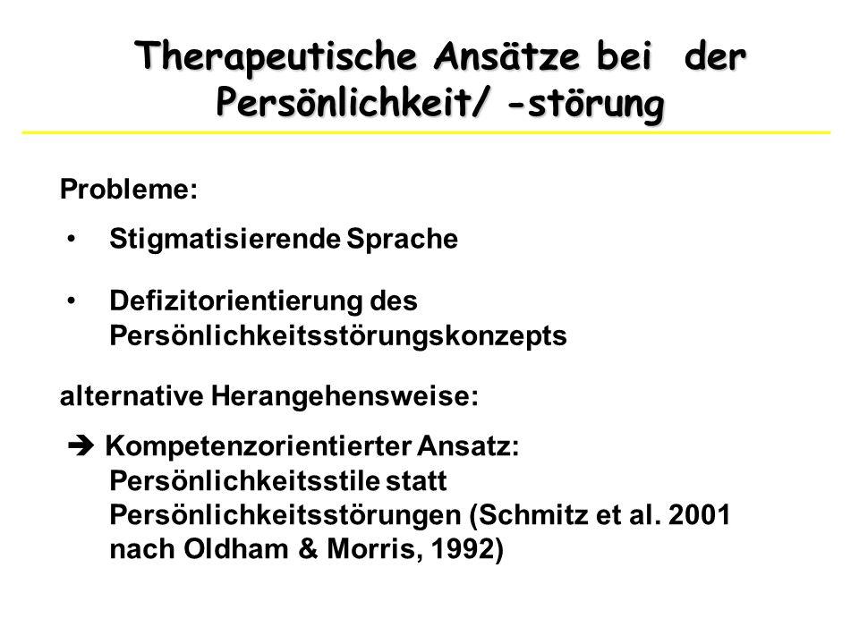 Therapeutische Ansätze bei der Persönlichkeit/ -störung