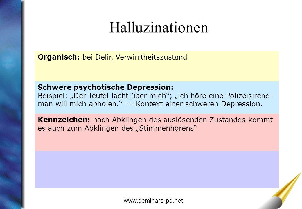Halluzinationen Organisch: bei Delir, Verwirrtheitszustand
