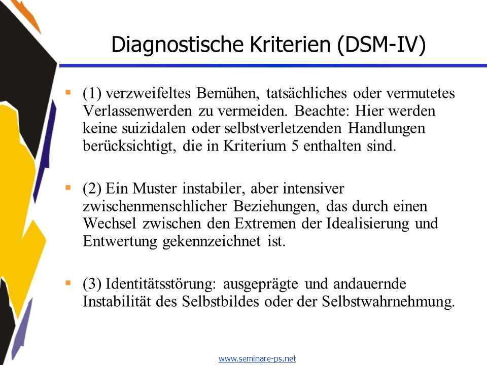 Diagnostische Kriterien (DSM-IV)