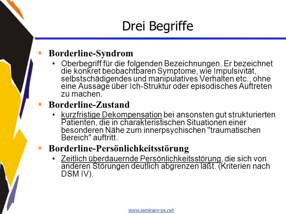 Drei Begriffe Borderline-Syndrom Borderline-Zustand