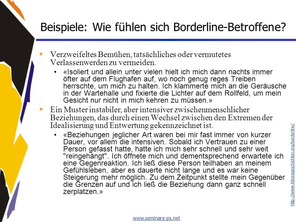 Beispiele: Wie fühlen sich Borderline-Betroffene