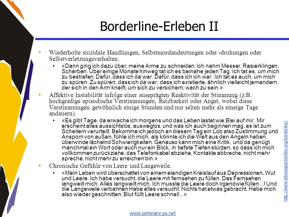 Borderline-Erleben II